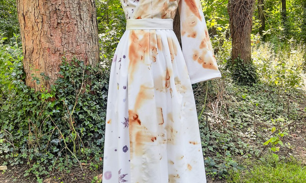 aa dress with natural patterns in a forest
