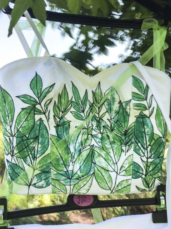bodice with leaf pattern