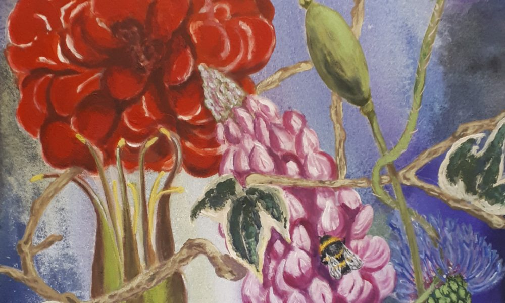 painting of plants and a bee